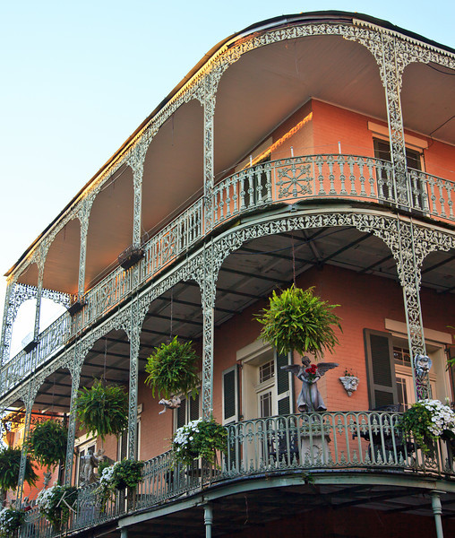 The quintessential New Orleans wrought iron balcony.