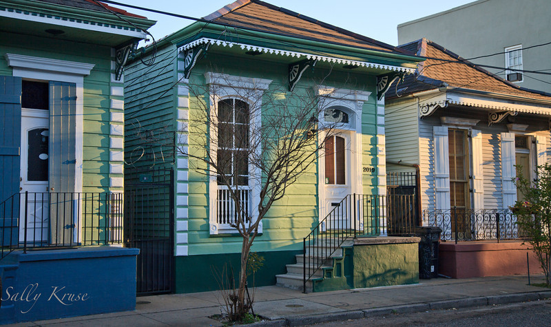 A colorful row of homes in the Marigny/Bywater district, New Orleans.