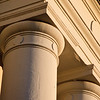 Architectural columns on the Cabildo in New Orleans.