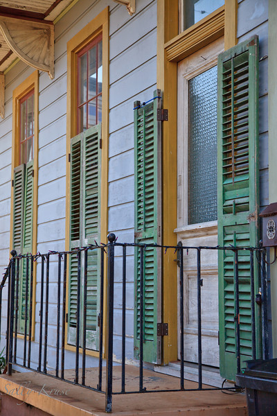 Shuttered doors and windows in the Marigny/Bywater district, New Orleans.