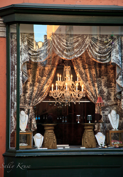 An old world look to a shop window in the French Quarter, New Orleans.