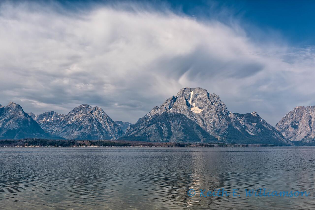 Clouds over Mount Moran, Jackson Lake, Grand Teton NP