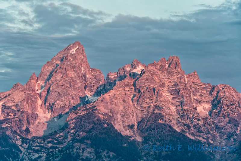 Alpenglow on the Grand Teton, early morning
