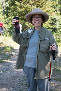Carolyn Reich with Bear Repellent  Laurance Rockefeller Preserve  Grand Teton National Park  1,106-acre refuge within Grand Teton National Park on the southern end of Phelps Lake.  7/12/13