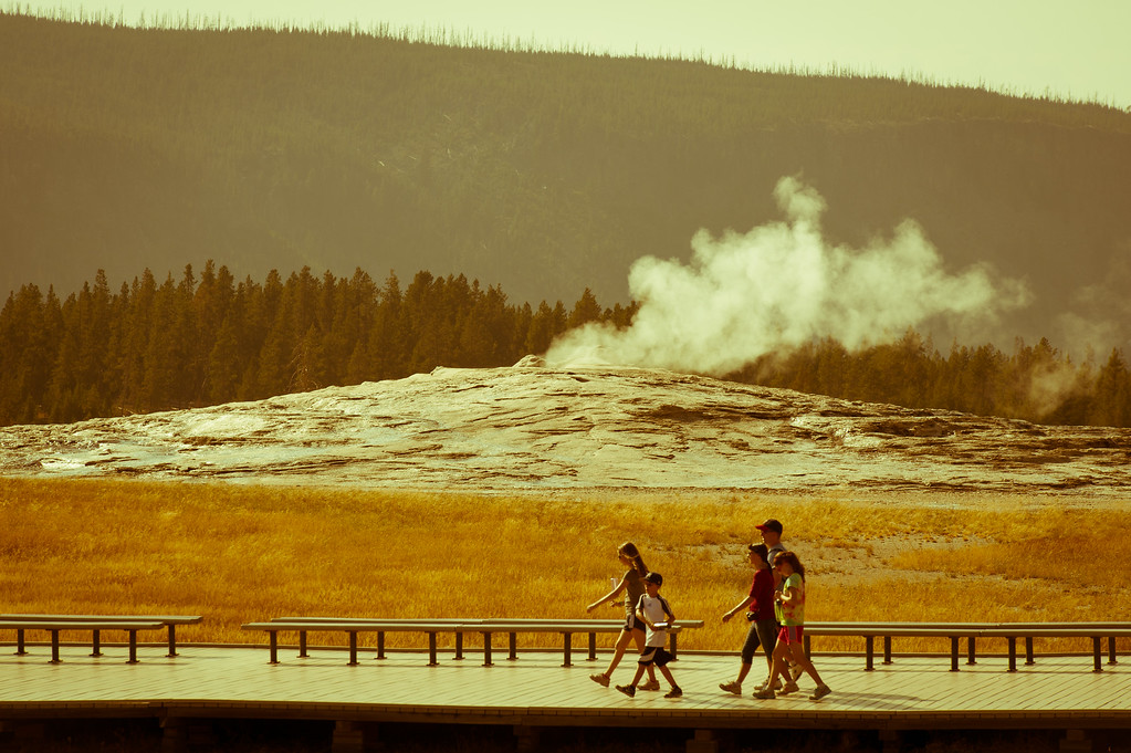 Walking around a resting Old Faithful