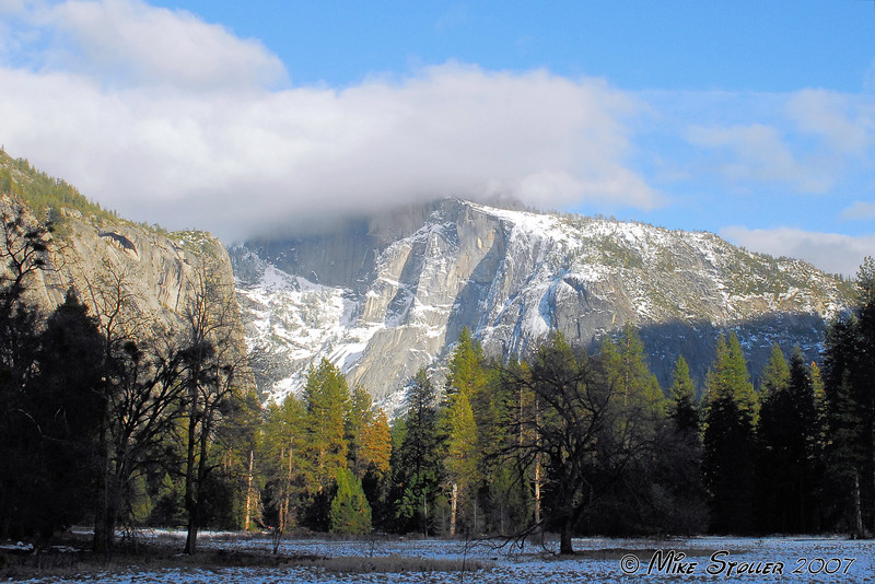 Half Dome in the clouds.
