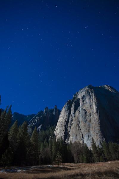 El Cap Meadow Full Moon and Stars