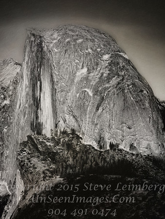 Half Dome from Glacier Point IV- B&W Copyright 2015 Steve Leimberg - UnSeenImages Com _Z2A4045