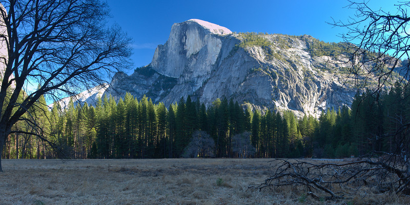 Half Dome Stitched Panorama<br /> First Snowless January Since 1933<br /> January 2012