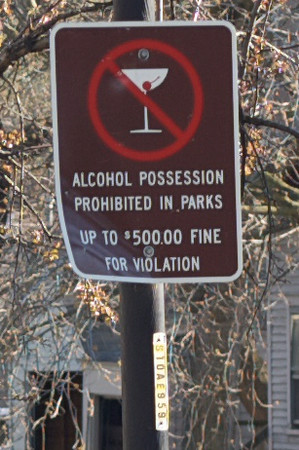 Classy No Drinking sign