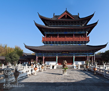 The Wanjuan Building of the Mu Clan Mansion, the official residence of a Ming Dynasty chief, located within the town of Lijiang, Yunnan Province, China.
