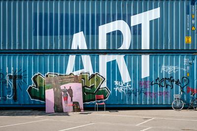 Art written on containers in Zurich