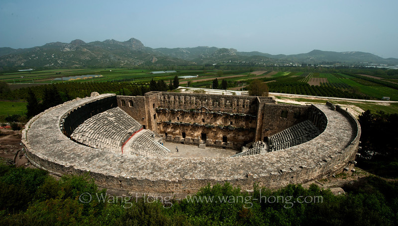 Aspendos, an ancient city in Pamphylia, Asia Minor, located about 40 km east of the city of Antalya. The two thousand year old ancient Roman Aspendos Theatre is noted as one of the best preserved antique theatres in the world, with many original features of the building remaining intact.
