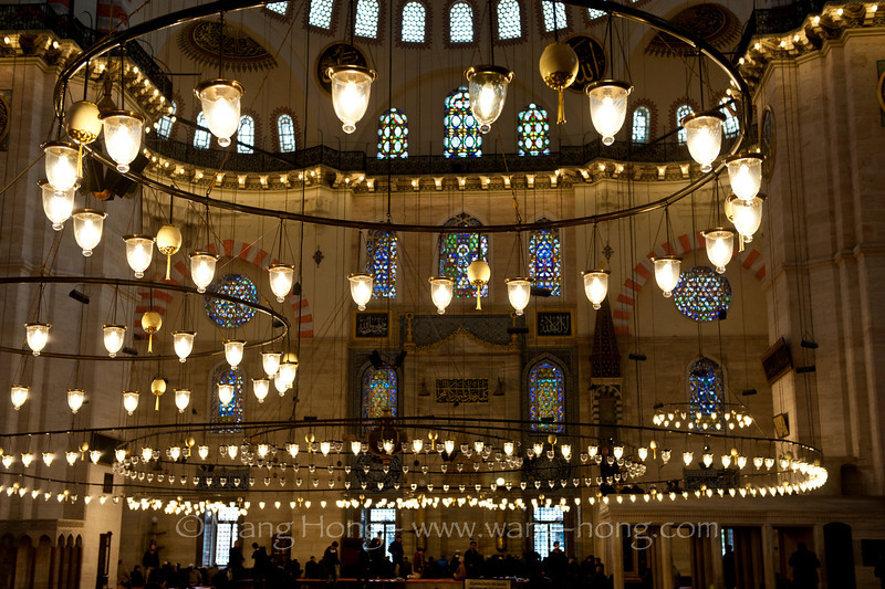 Interior of Süleymaniye Camii, built from 1550 and 1558 by Mimar Sinan, the imperial Ottoman architect.
