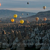 Cappadocia landscape and hot air balloons. Hot air ballooning is a very popular tourist activity in Goreme, a major town in the region.