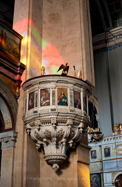 Inside Hagia Triada, the largest greek orthodox church in Istanbul near Taksim Square.