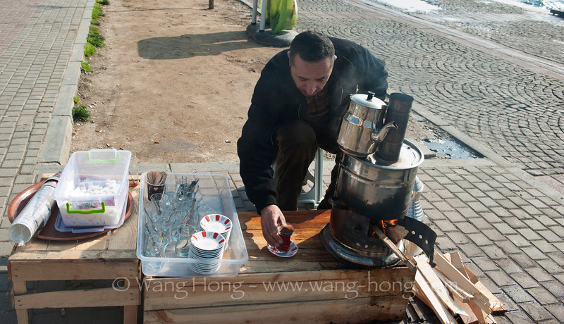 Brewing tea at the waterside of Bosphorus in Istanbul. I had my first Turkish tea here when strolling leisurely by the water side.