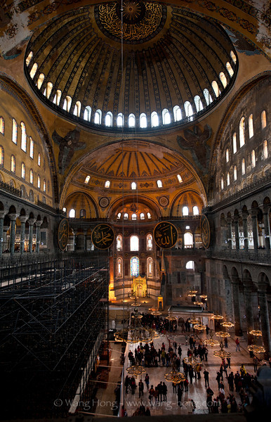 Interior of Hagia Sofia. Unfortunate for a photographer, the left side is under renovation.
