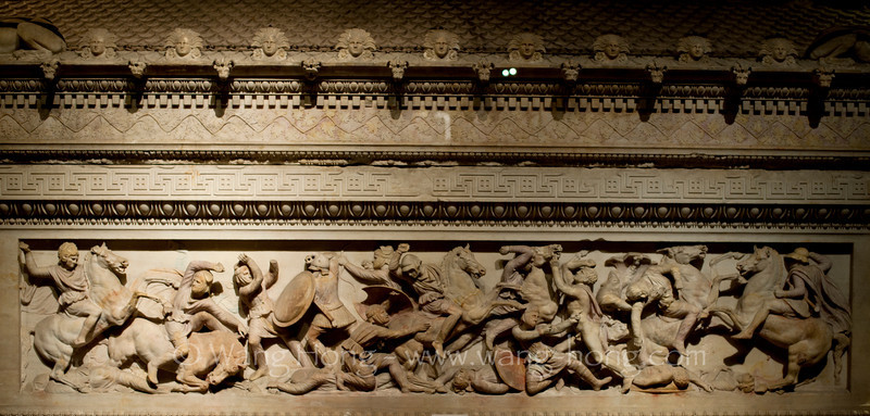 The Alexander Sarcophagus, found in the necropolis of Sidon, in Archeology Museum in Istanbul. It is a late 4th century BC Hellenistic stone sarcophagus adorned with bas-relief carvings of Alexander the Great (far left). The work is unbelievably well preserved.