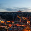 Small pink town of Goreme in Cappadocia at night.