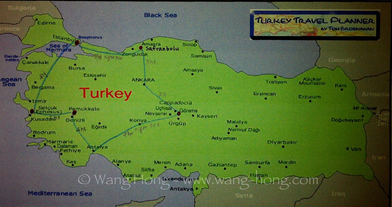 Starting from Istanbul, I followed the blue line clockwise and visited each of the dark red spots marked on this map of Turkey during my trip there in late March and early April 2013. For transportation, I relied mostly on the very convenient and reliable long distance bus system.