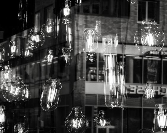 Edison bulbs reflection