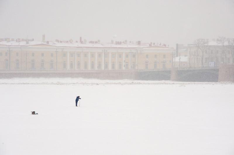 Ice Fishing on the Neva
