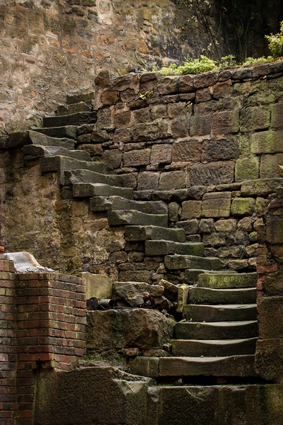An old stone set of steps in Newcastle city centre now leads to nowhere