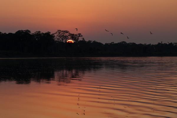 Sunset on the Brahmaputra River
