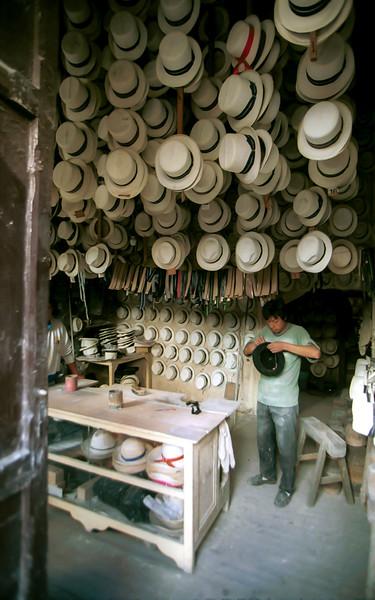 Panama Hat maker, Ambato, Ecuador.