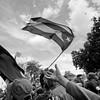 Pioneros celebran victoria del Che Guevara y la 8va Columna Ciro Redondo del Ejercito Rebelde frente al Hotel Santa Clara Libre en Santa Clara, Villa Clara, Cuba.