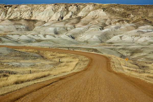 Badlands NP, South Dakota The road out of or into the badlands.