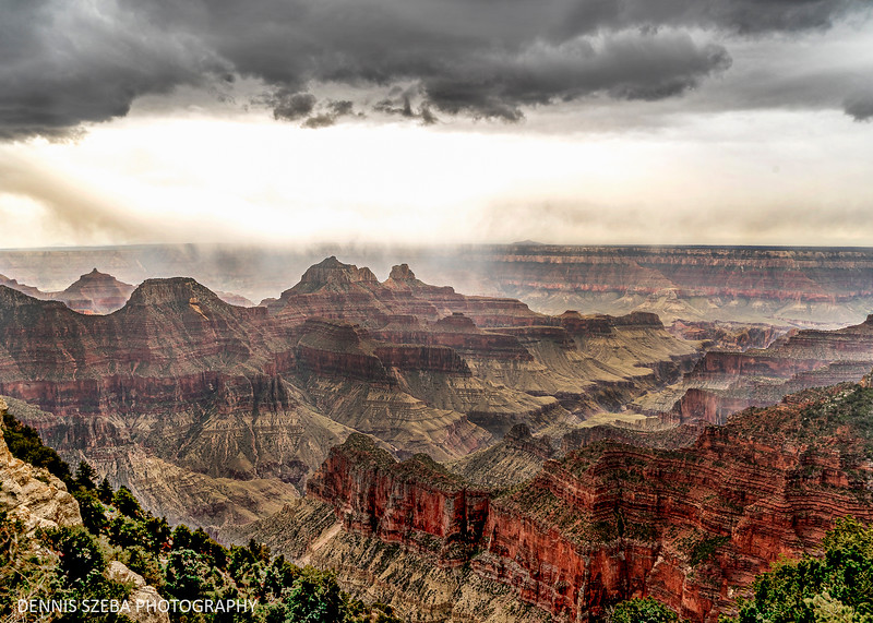 Grand Canyon North Rim with rain squalls moving through. May 2019