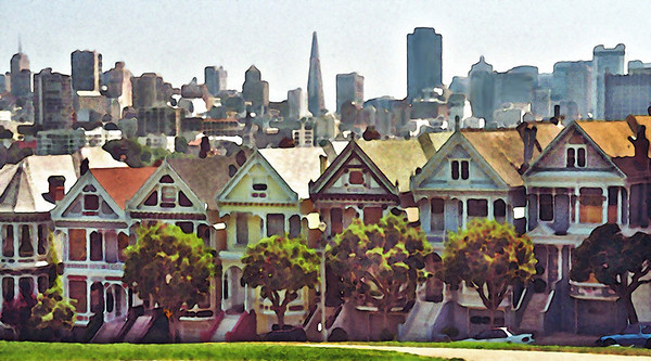 'Painted Ladies' homes in Alamo Square, San Francisco. 1994