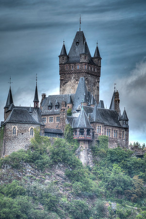 The fairy tale castle at Cochem is a mass of towers and turrets