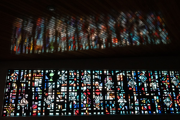 Cathedral modern stained glass and ceiling reflection