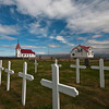 Church and cemetery in Iceland