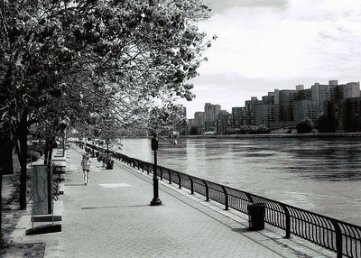 Infrared picture of the East River Esplanade in Manhattan.  Across the water is Roosevelt Island.