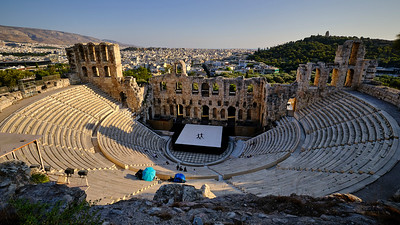 Dancers rehearsals at the Theatre of Dionysus on the Acropolis, Athens, Greece