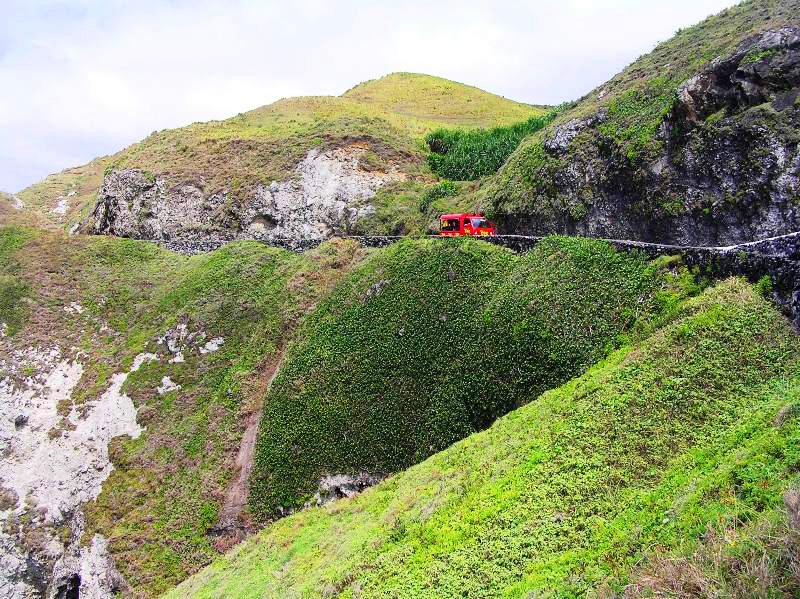 Zigzag roads along cliffs in Batanes