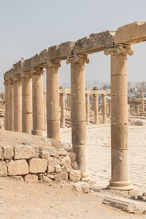 Oval plaza columns