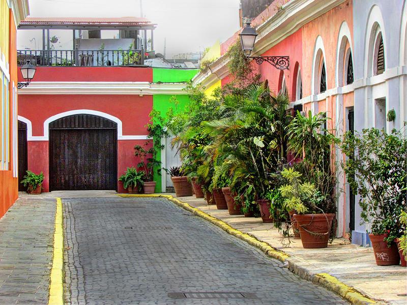 Old San Juan, Puerto Rico alleyway.