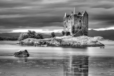 Cut off at high tide by the sea, Castle Stalker stands on a small island