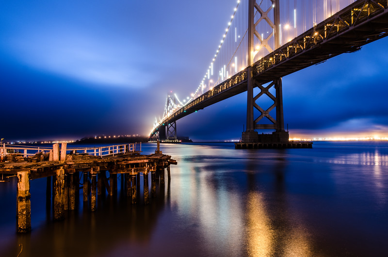 Blue sky over the Bay Bridge