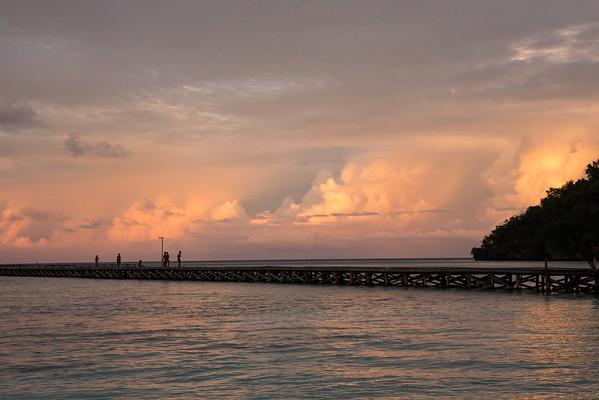 Village pier at dusk