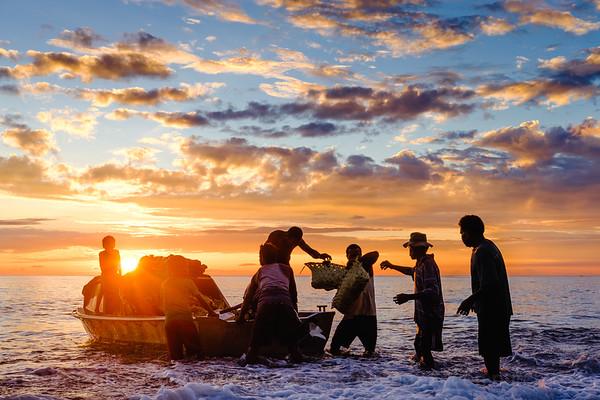 Vanuatu, Santo, Tasiriki, Unloading at Sunset