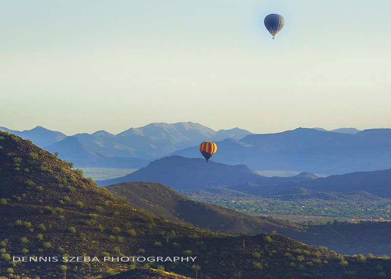 Hot Air Balloons over Arizona, near Phoenix. 2016