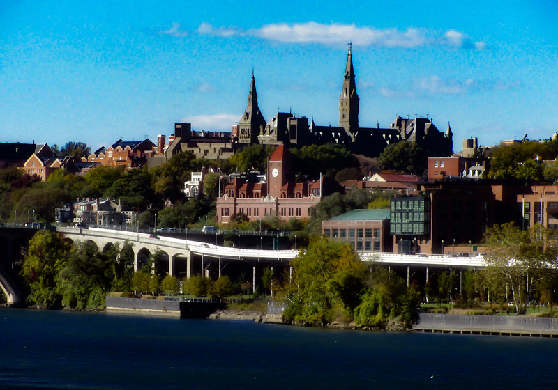 Washington D.C. Urban views. Georgetown University from the Kennedy Center.