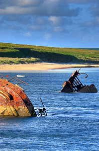 Blockship Burray Sound, Orkney, Scotland.