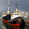 Storm coming, old ships on the docks at Tallinn, Estonia.